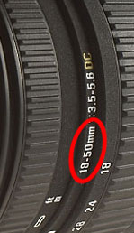 camera lens focal length markings